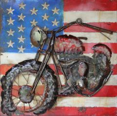 Motorcycle  with USA flag - square