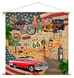 Wanddoek - Route 66 Collage